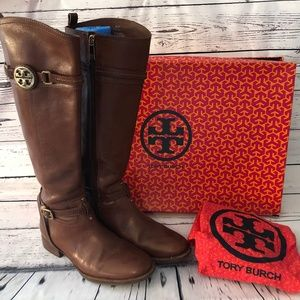 Tory Burch Calista Riding Boots Brown 8.5 Box Dust